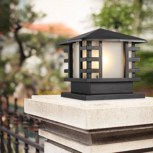 Modeen Continental Victoria Outdoor Glass Table Lamp Creative Modern Industry Black E27 Decoration Column Lamp Post Light Street Light Aluminum Patio Garden Villa Door Pillar Table Light from Modeen