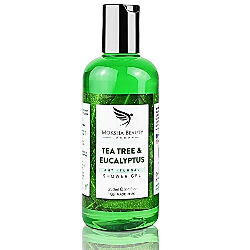 Tea Tree Oil Antifungal Soap – [Made In UK] 100% Natural | Shower Gel Body Wash | Kills Bacteria | Natural Cleanser Relieves Acne Odour Ringworm Jock Itch Nail Fungus Athlete's Foot | 250ml from Moksha Beauty