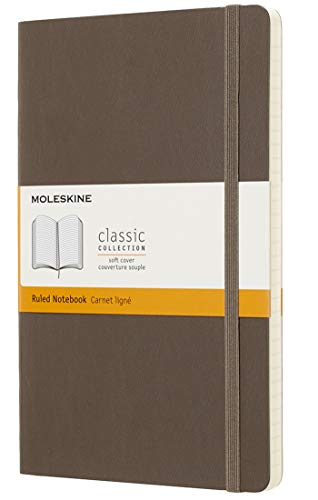 Moleskine Classic Ruled Paper Notebook - Soft Cover and Elastic Closure Journal - Color Earth Brown - Large 13 x 21 A5 - 192 Pages from Moleskine