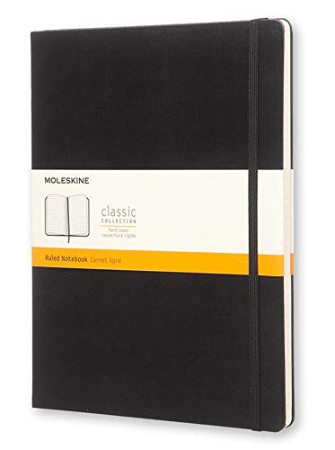 Moleskine Classic Ruled Paper Notebook, Hard Cover and Elastic Closure Journal, Color Black, Size Extra Large 19 x 25 cm, 192 Pages from Moleskine