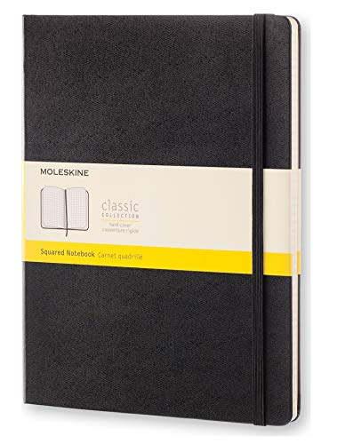 Moleskine Classic Squared Paper Notebook - Hard Cover and Elastic ClosureJournal, Black, Extra Large 19 x 25 A4, 192 Pages from Moleskine