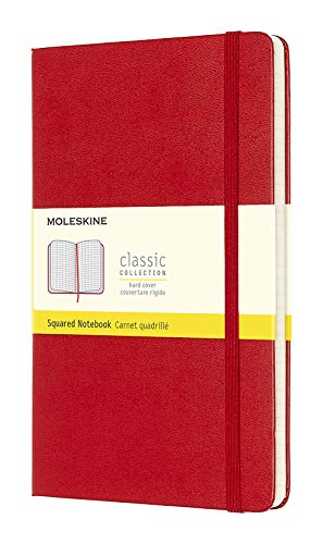 Moleskine Classic Squared Paper Notebook - Hard Cover and Elastic ClosureJournal, Scarlet Red, Large 13 x 21 A5, 240 Pages from Moleskine
