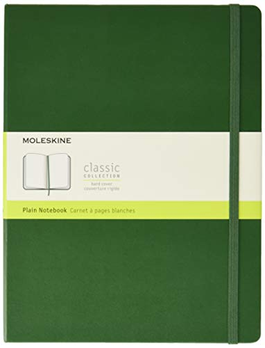 Moleskine Classic Plain Paper Notebook - Hard Cover and Elastic ClosureJournal, Myrtle Green, Extra Large 19 x 25 A4, 192 Pages from Moleskine