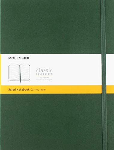 Moleskine Classic Ruled Paper Notebook - Hard Cover and Elastic ClosureJournal, Myrtle Green, Extra Large 19 x 25 A4, 192 Pages from Moleskine