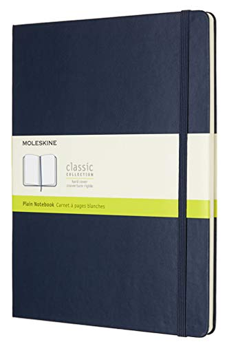 Moleskine Classic Plain Paper Notebook, Hard Cover and Elastic Closure Journal, Colour Sapphire Blue, Size Extra Large 19 x 25 A4, 192 Pages from Moleskine