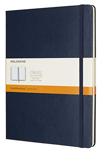 Moleskine - Classic Ruled Paper Notebook - Hard Cover and Elastic Closure Journal - Color Sapphire Blue - Size Extra Large 19 x 25 A4 - 192 Pages from Moleskine