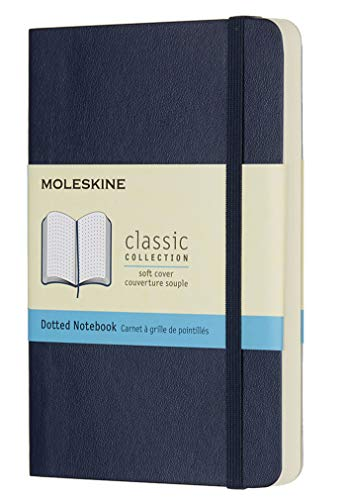 Moleskine Classic Dotted Paper Notebook - Soft Cover and Elastic Closure Journal - Color Sapphire Blue - Pocket 9 x 14 A6 - 192 Pages from Moleskine