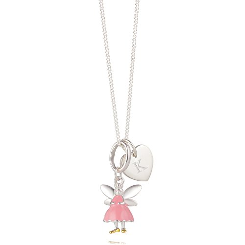 Sterling Silver Personalised Heart & Pink Fairy Girl's Necklace - Beautiful Birhtday Gift for a Baby from Molly Brown London