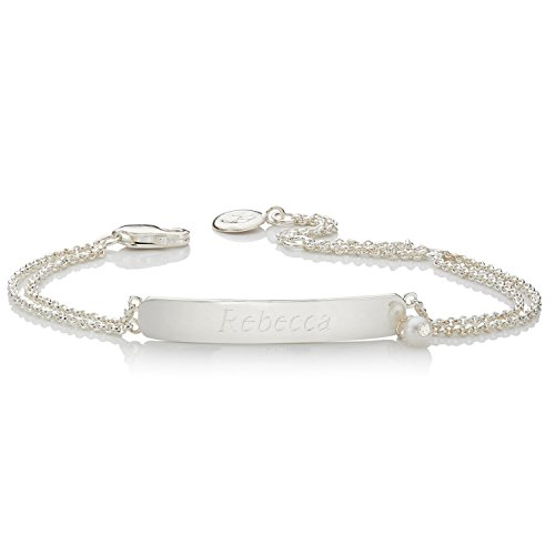 Molly Brown 925 Sterling Silver Personalised First Pearl Identity Girl's Bracelet for Formal Occasions from Molly Brown