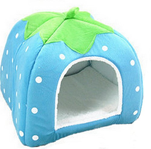 Monbedos Pet Bed Cute Strawberry Shape Pet Nest Cushion For Small Dogs And Cats (Blue) from Monbedos