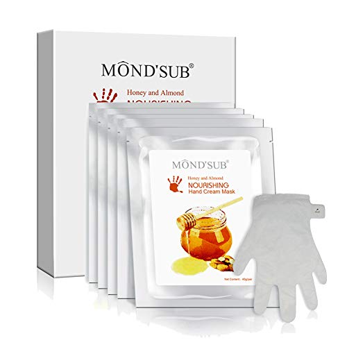 5 Pairs of MOND'SUB Anti-Aging Hand Mask - Nuritious Honey and Almond Best Hydrating Hand & Nail Mask - Best Moisturizing Gloves for Dry Hands to Nourishing,Softening,Hydrating and Protecting Skins from Mond'sub