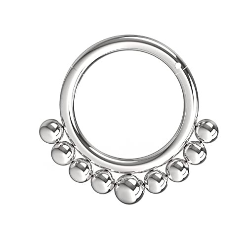 AZARIO LONDON 14 Gauge - 10MM Length Surgical Steel Tribal Paved Balls Hinged Segment Nose Ring Septum Piercing from AZARIO LONDON