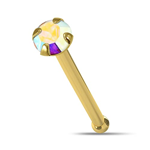AZARIO LONDON 14K Yellow Gold Claw Set 2.5MM Rainbow Round Crystal Stone 22 Gauge Nose Bone Nose Stud Piercing from AZARIO LONDON
