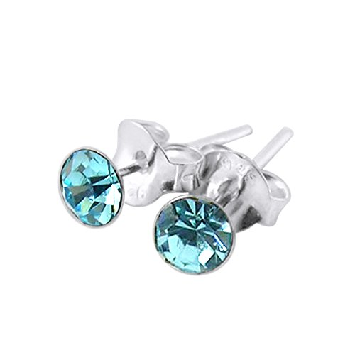 6MM Round Aquamarine MARCH Birthstone 925 Sterling Silver Stud Earring from Monster Piercing