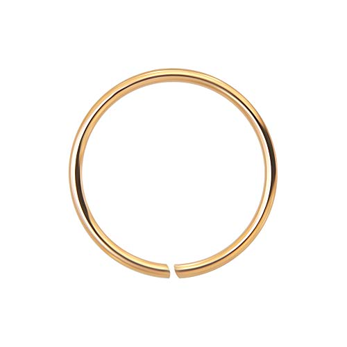 AZARIO LONDON 9K Rose Gold 22 Gauge - 6MM Diameter Seamless Continuous Open Hoop Nose Ring Nose Piercing from AZARIO LONDON