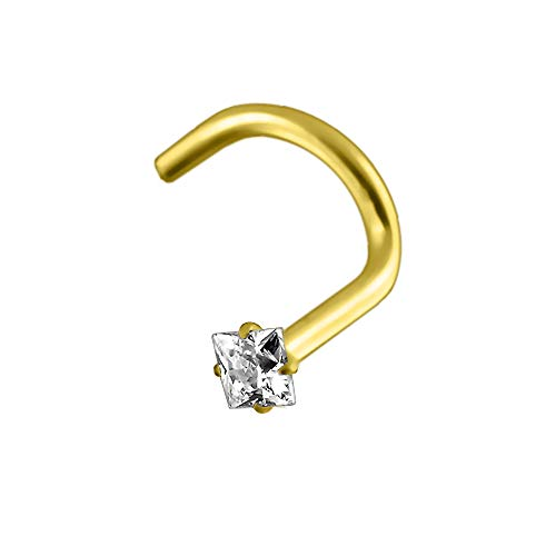 AZARIO LONDON 9K Solid Yellow Gold Claw Set 1.5MM Square CZ Stone 20 Gauge Nostril Nose Screw Piercing Jewellery from AZARIO LONDON