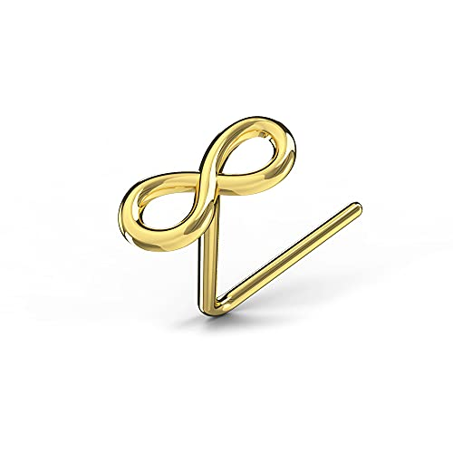 AZARIO LONDON 9K Solid Yellow Gold Plain Infinity Sign 22 Gauge L Shape Nose Stud Piercing Jewellery from AZARIO LONDON