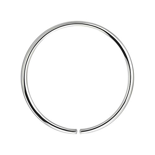 AZARIO LONDON 9K White Gold 22 Gauge - 10MM Diameter Seamless Continuous Open Hoop Nose Ring Nose Piercing from AZARIO LONDON