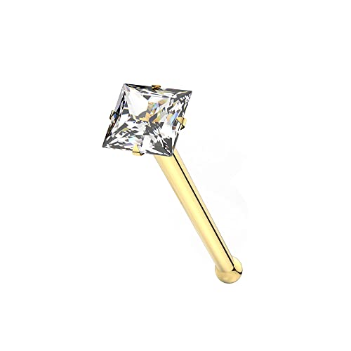 AZARIO LONDON 9K Solid Yellow Gold Claw Set 1.5MM Square CZ Stone 22 Gauge Nose Bone Nose Stud Piercing from AZARIO LONDON