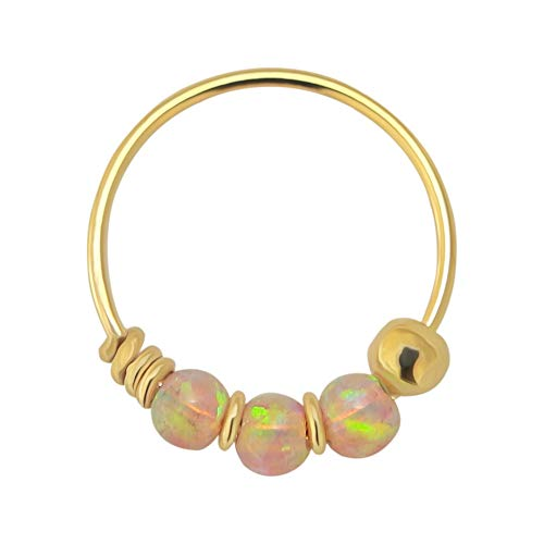 AZARIO LONDON 9K Solid Yellow Gold Triple Pink Opal Bead 22 Gauge Hoop Nose Ring Nose Piercing Jewellery from AZARIO LONDON