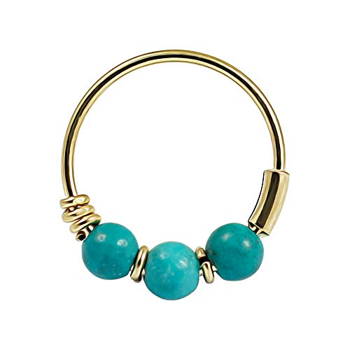 AZARIO LONDON 9K Solid Yellow Gold Triple Turquoise Bead 22 Gauge Hoop Nose Ring Nose Piercing Jewellery from AZARIO LONDON