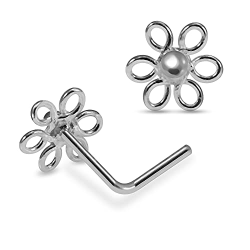 Plain Filigree Flower 22 Gauge 925 Sterling Silver L Bend Nose Piercing from Monster Piercing