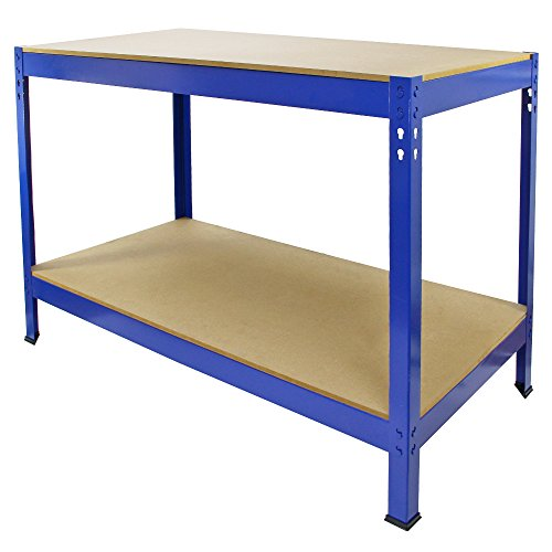 Work Bench Garage Table/Metal Storage Shelving DIY Tools Heavy Duty Workbenches Workshop Shed / 2 Shelves 90cm x 120cm x 60cm (Blue) from Monster Racking