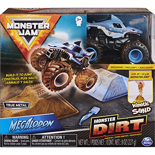 Monster jam 6045198 Starter Set, Featuring 227 g of Monster Dirt and Authentic 1:64 Scale Die-Cast Truck (Styles Vary), Mixed Colours from Monster jam