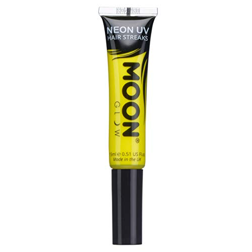 Moon Glow - Neon UV Hair Colour Streaks 15ml Yellow – Glows brightly under UV Lighting! from Moon Glow