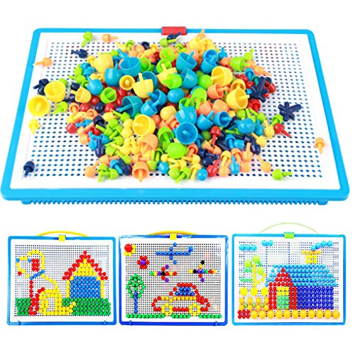 Moonlove 296 pcs Jigsaw Puzzle Mix Colour Mushroom Nails Pegboard Educational Building Blocks Bricks Creative DIY Mosaic Toys Birthday Christmas Gift for Kids Age Over 3 Years Old from Moonlove