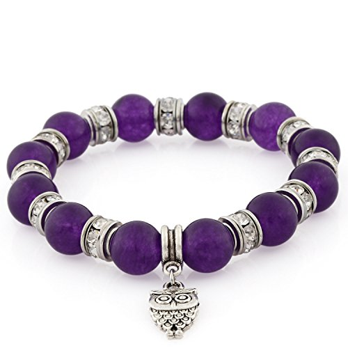 Morella Women's Bracelet Elastic with Owl Pendant and Stone Beads Purple from Morella