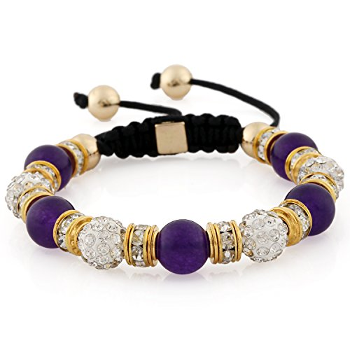 Morella Women's Bracelet with Stone Beads Zirconia Adjustable Gold Purple from Morella