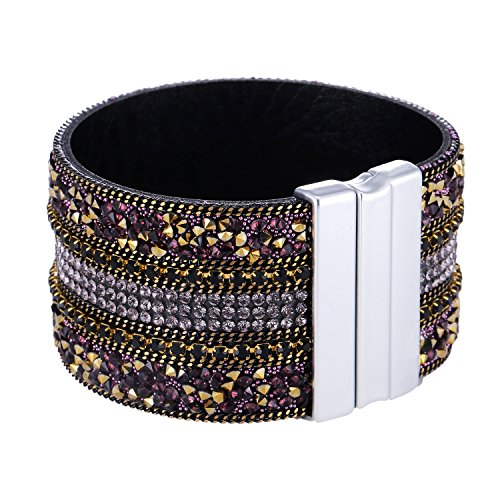 Morella Women's Glitter Bracelet with Zirconia Stones and Magnetic Clasp – Gold Purple from Morella