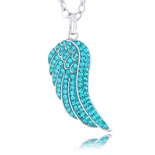 "Morella Women's Necklace Angel's Wing with Zirconia Stones 70 cm 27.56"" Blue and Velvet Bag from Morella"