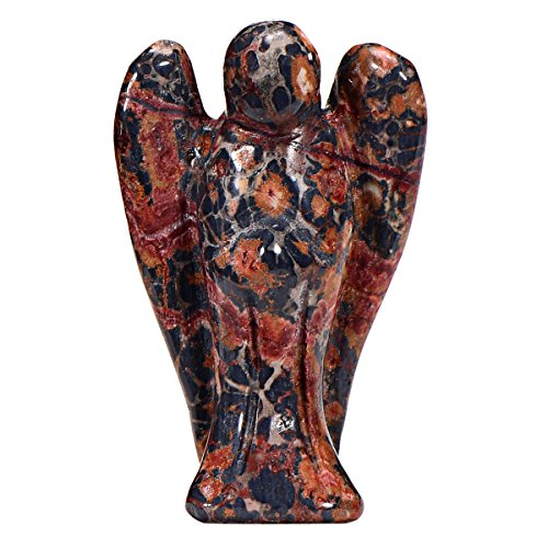 Morella Gemstone Leopard Jasper Angel Good Luck Charm Guardian Angel to take with You 3,5 cm - 1.38 inch in a Velvet Bag from Morella