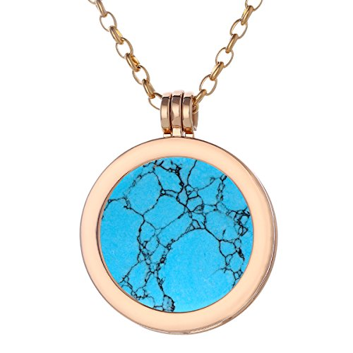"Morella women necklace 70 cm 27.5"" stainless steel gold and pendant with gemstone Turquoise Stone Coin 33 mm 1.3"" chakra plate in velvet bag from Morella"