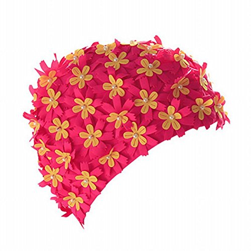 Moresave Ladies Long Hair Swimming Caps, Flower Petal Swimming Hat Fabric Swimming Cap for Adult from Moresave