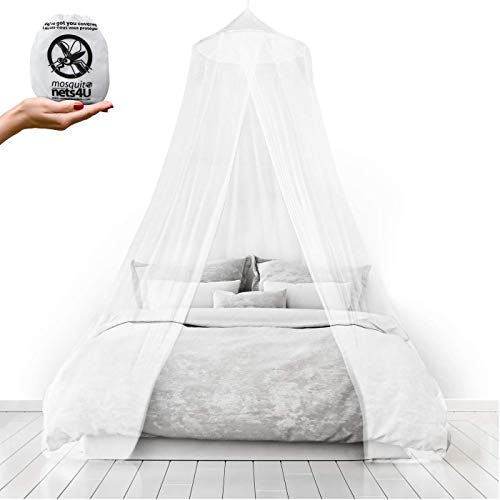 Travel Essentials Mosquito Nets 4 U® LARGE Mosquito Net Bed Canopy Maximum Insect Net Protection No Skin Irritation Deet Free Natural Repellent , Complete Hanging Kit , Keep-Clean Drawstring Bag + Bonus E –Book from Mosquito Nets 4 U