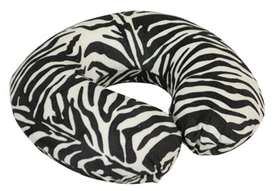 MP Essentials Animal Pattern Super Velour Luxury Memory Foam Comfort Neck Support Cushion (Travelling, Car, Plane, TV, Reading) (Blue) (Black/White Zebra) from Unknown