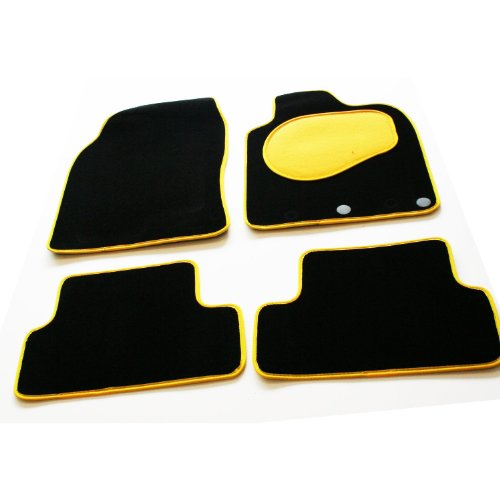 Tailored Custom Black Luxury Velour Carpet Interior Car Mats for Hyundai Amica / Atoz (2000-2003) - Bold Yellow Protection Heel Pad & Neat Ribb Edge Trim from Motionperformance Essentials