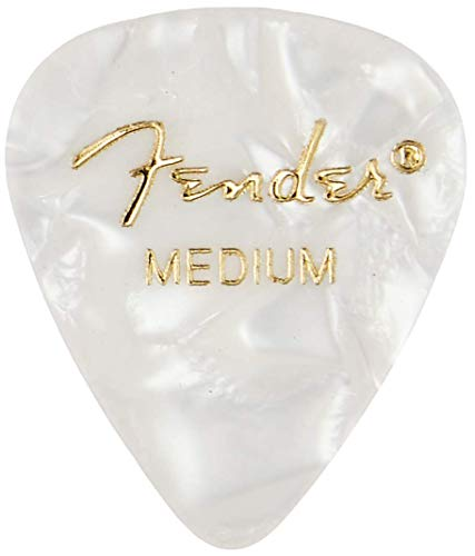 Fender 351 Shape Medium Classic Celluloid Picks, 12-Pack, White Moto for electric guitar, acoustic guitar, mandolin, and bass from Fender