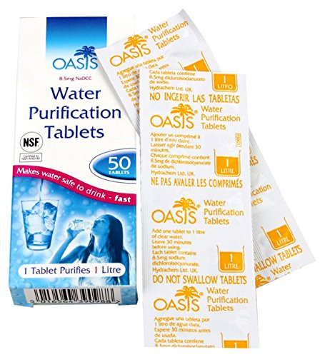 Mountain Warehouse Oasis Water Purification Tablets - Pack of 50 Water Purifier Tablets -for Travel One from Mountain Warehouse