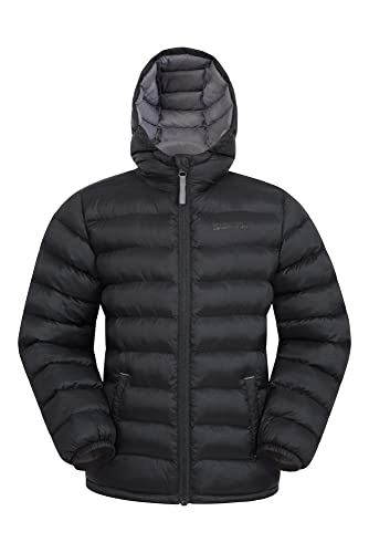 Mountain Warehouse Seasons Boys Padded Jacket - Water Resistant Rain Coat, Lightweight Kids Winter Jacket, Elastic Cuffs & 2 Front Pockets Casual Jacket - for Travelling Black 2-3 Years from Mountain Warehouse