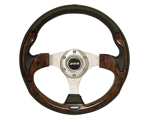 Mountney M32X3VV9S  M Range Steering Wheel , Silver Anodised Center, 3 Spoke, Black Leather With Wood Look Inset, 320mm In Diameter from Mountney
