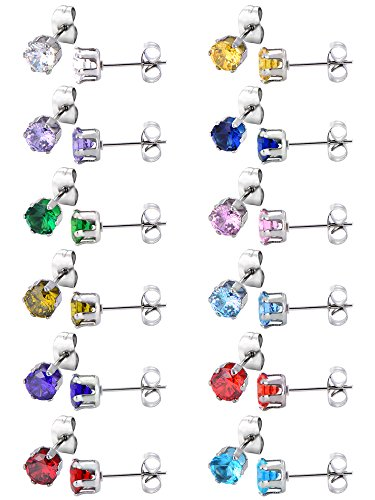 12 Pairs Stud Earrings Stainless Steel Ear Studs Round Cubic Zircon Earring for Women Girls, 12 Colors from Mudder