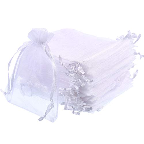 Mudder Organza Gift Bags White Wedding Party Favor Bags Jewelry Pouches Wrap (50 Pack, 4 x 4.72 Inches) from Mudder