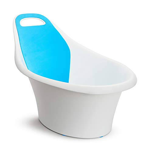 Munchkin Sit and Soak Baby Bath Tub with Built-In Support Bump and Padded Foam Back Rest, Bonus Pull-Tab Drain and Storage Hook, 0-12 Months, White from Munchkin