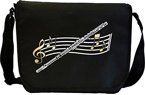 Flute Curved Stave - Sheet Music & Accessory Bag MusicaliTee from MusicaliTee