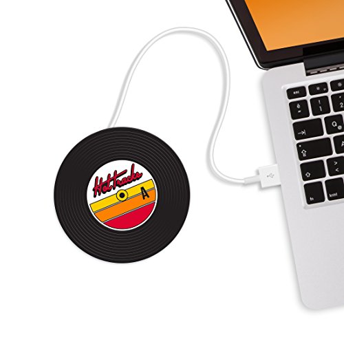 MUSTARD - Hot-Tracks Cup Warmers I USB Powered Cup Warmer I Mug Warmer for Desk I On/Off Switch I Coffee Cup Warmer for Desk USB I Cup Heater USB I Electric I Portable Cup Heater I Vinyl Record- Black from Mustard