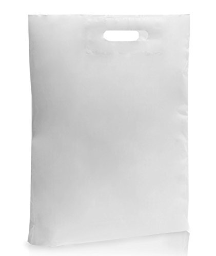 MustBeBonkers 50 LARGE WHITE PLASTIC BAGS - BOUTIQUE GIFT SHOP CARRIER BAG - 38x46x8 cm from MustBeBonkers